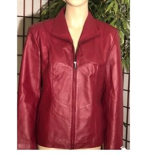 East 5th Leather Lined Zip Red Jacket Coat MP